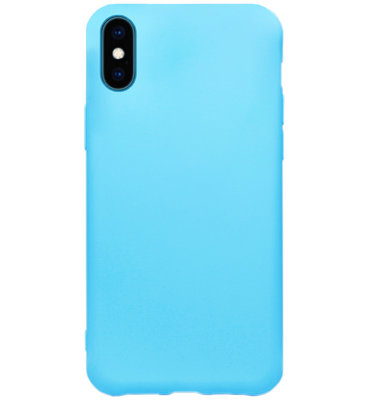 ADEL Siliconen Back Cover Softcase Hoesje voor iPhone XS/ X - Blauw