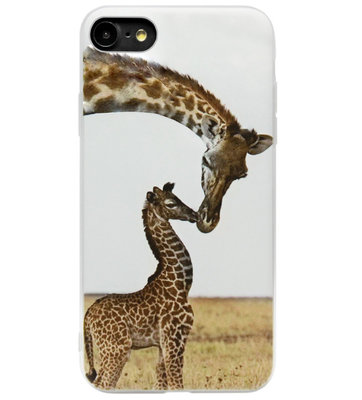 ADEL Siliconen Back Cover Softcase Hoesje voor iPhone SE (2020)/ 8/ 7 - Giraffe Familie