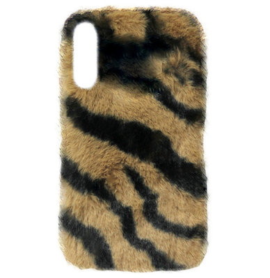 ADEL Siliconen Back Cover Softcase Hoesje voor Samsung Galaxy A70(s) - Luipaard Fluffy Zachte Stof Pluche
