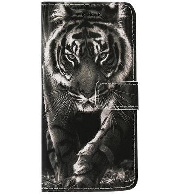 ADEL Kunstleren Book Case Portemonnee Pasjes Hoesje voor iPhone 11 Pro - Tijger Zwart