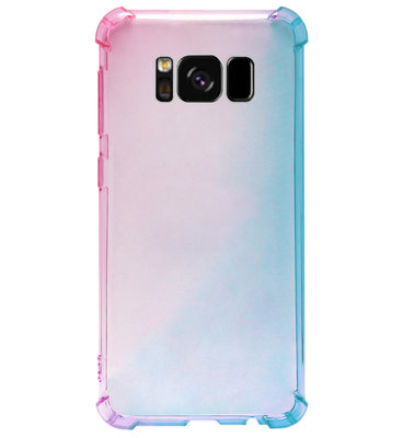 ADEL Siliconen Back Cover Softcase Hoesje voor Samsung Galaxy S8 Plus - Kleurovergang Roze Blauw