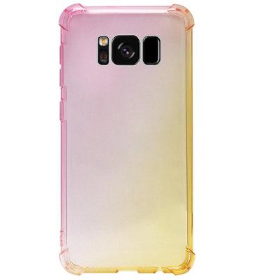 ADEL Siliconen Back Cover Softcase Hoesje voor Samsung Galaxy S8 Plus - Kleurovergang Roze Geel