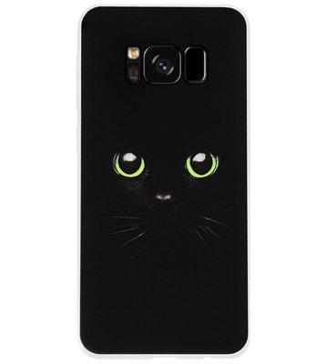 ADEL Siliconen Back Cover Softcase Hoesje voor Samsung Galaxy S8 Plus - Kat Zwart Groene Ogen