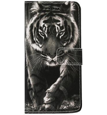 ADEL Kunstleren Book Case Portemonnee Pasjes Hoesje voor Samsung Galaxy S8 Plus - Tijger Zwart