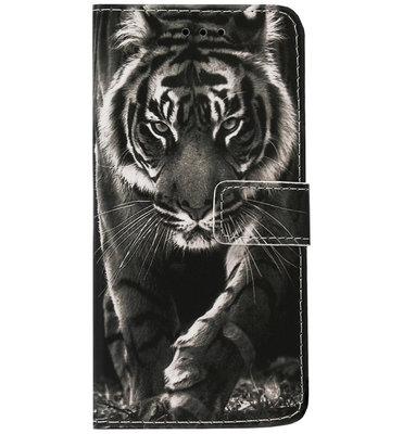 ADEL Kunstleren Book Case Portemonnee Pasjes Hoesje voor Samsung Galaxy S9 - Tijger Zwart