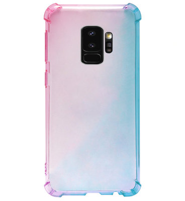 ADEL Siliconen Back Cover Softcase Hoesje voor Samsung Galaxy S9 Plus - Kleurovergang Roze Blauw