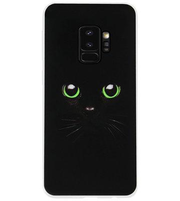 ADEL Siliconen Back Cover Softcase Hoesje voor Samsung Galaxy S9 Plus - Kat Zwart Groene Ogen