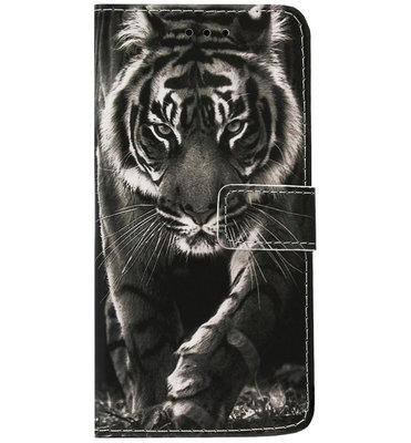 ADEL Kunstleren Book Case Portemonnee Pasjes Hoesje voor Samsung Galaxy S9 Plus - Tijger Zwart