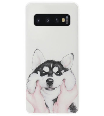 ADEL Siliconen Back Cover Softcase Hoesje voor Samsung Galaxy S10 - Husky Hond