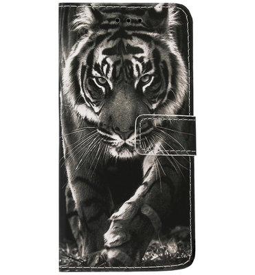 ADEL Kunstleren Book Case Portemonnee Pasjes Hoesje voor Samsung Galaxy S10 - Tijger Zwart