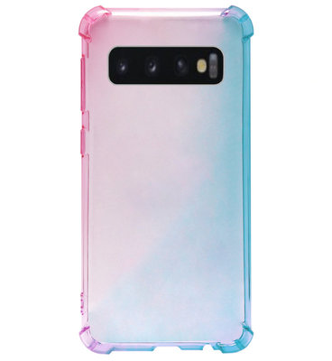 ADEL Siliconen Back Cover Softcase Hoesje voor Samsung Galaxy S10e - Kleurovergang Roze Blauw