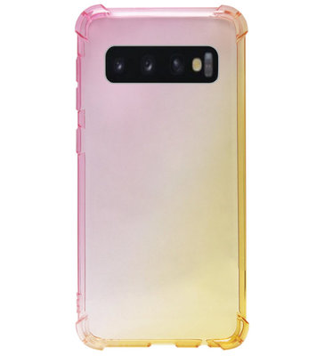 ADEL Siliconen Back Cover Softcase Hoesje voor Samsung Galaxy S10e - Kleurovergang Roze Geel