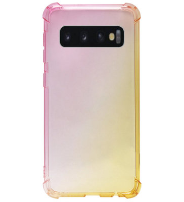 ADEL Siliconen Back Cover Softcase Hoesje voor Samsung Galaxy S10 Plus - Kleurovergang Roze Geel