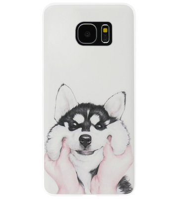ADEL Siliconen Back Cover Softcase Hoesje voor Samsung Galaxy S7 Edge - Husky Hond
