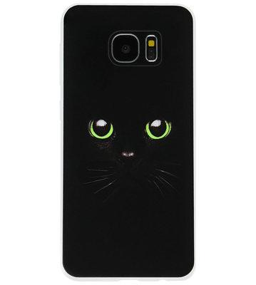 ADEL Siliconen Back Cover Softcase Hoesje voor Samsung Galaxy S7 Edge - Kat Zwart Groene Ogen