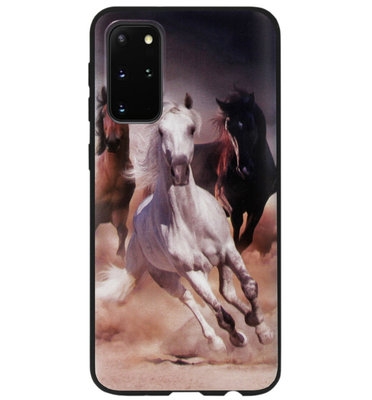 ADEL Siliconen Back Cover Softcase Hoesje voor Samsung Galaxy S20 - Paarden Wit Bruin