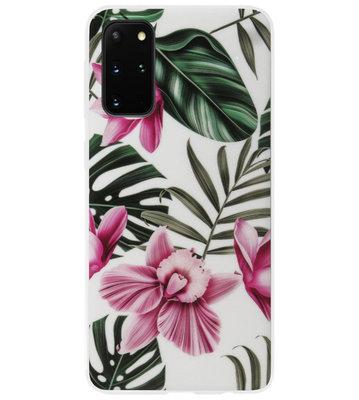 ADEL Siliconen Back Cover Softcase Hoesje voor Samsung Galaxy S20 Ultra - Planten Bloemen Roze Groen