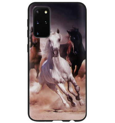 ADEL Siliconen Back Cover Softcase Hoesje voor Samsung Galaxy S20 Ultra - Paarden Wit Bruin