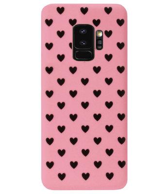 ADEL Siliconen Back Cover Softcase Hoesje voor Samsung Galaxy S9 - Hartjes Roze Zwart