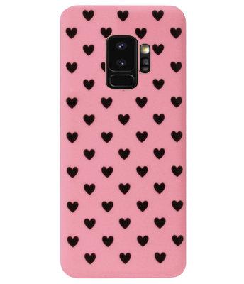 ADEL Siliconen Back Cover Softcase Hoesje voor Samsung Galaxy S9 Plus - Hartjes Roze Zwart