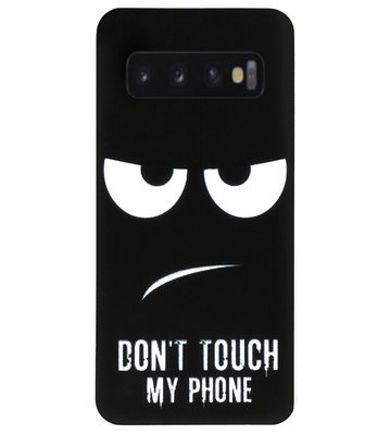 ADEL Siliconen Back Cover Softcase Hoesje voor Samsung Galaxy S10 - Don't Touch My Phone
