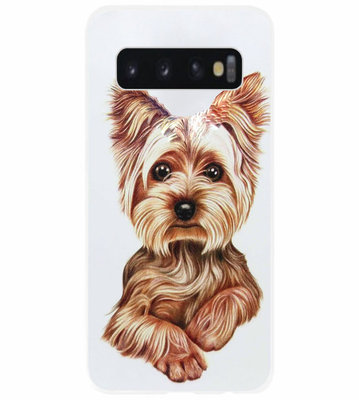 ADEL Siliconen Back Cover Softcase Hoesje voor Samsung Galaxy S10 Plus - Yorkshire Terrier Hond