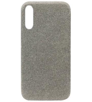 ADEL Kunststof Back Cover Hardcase Hoesje voor Samsung Galaxy A70(S) - Stoffen Design Grijs