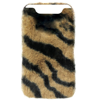 ADEL Siliconen Back Cover Softcase Hoesje voor Samsung Galaxy A80/ A90 - Luipaard Fluffy Zachte Stof Pluche