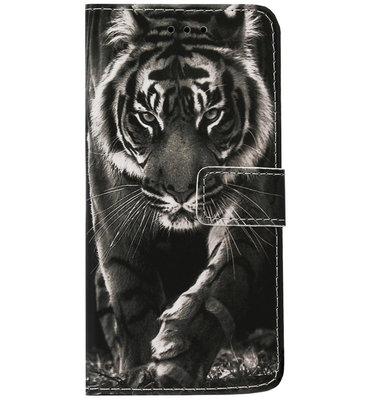 ADEL Kunstleren Book Case Pasjes Hoesje voor Samsung Galaxy A80/ A90 - Tijger Zwart