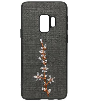 ADEL Siliconen Back Cover Softcase Hoesje voor Samsung Galaxy S9 - Geborduurde Bloem Zwart