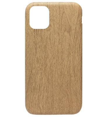 ADEL Siliconen Back Cover Softcase hoesje voor iPhone 11 - Houten Design Lichtbruin