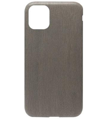 ADEL Siliconen Back Cover Softcase hoesje voor iPhone 11 - Houten Design Zwart
