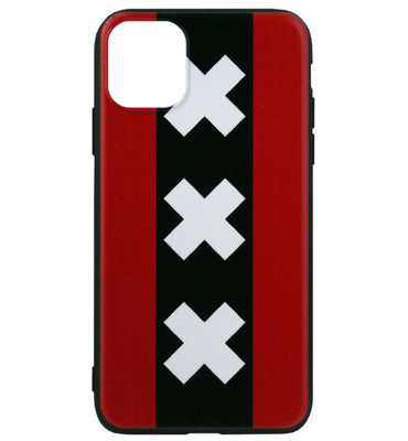 ADEL Siliconen Back Cover Softcase hoesje voor iPhone 11 Pro Max - Andreaskruisen Amsterdam