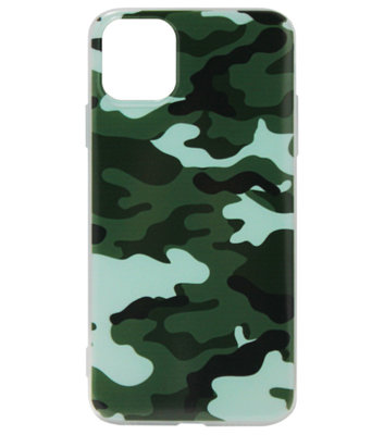 ADEL Siliconen Back Cover Softcase hoesje voor iPhone 11 Pro Max - Camouflage Groen