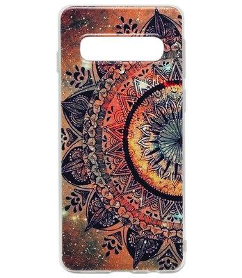 ADEL Siliconen Back Cover Softcase Hoesje voor Samsung Galaxy S10 - Mandala Bloemen Rood