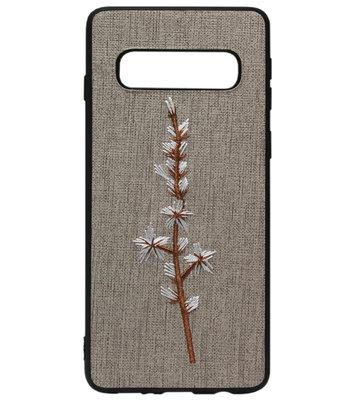 ADEL Siliconen Back Cover Softcase Hoesje voor Samsung Galaxy S10 - Geborduurde Bloem Grijs