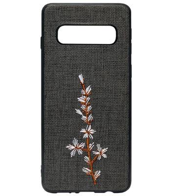ADEL Siliconen Back Cover Softcase Hoesje voor Samsung Galaxy S10 - Geborduurde Bloem Zwart
