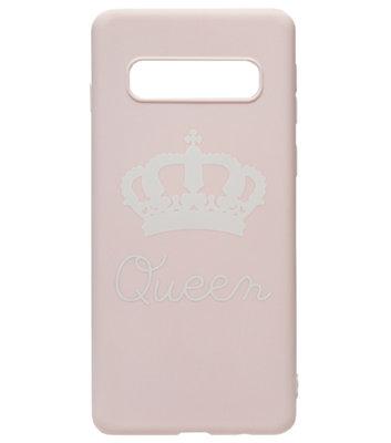 ADEL Siliconen Back Cover Softcase Hoesje voor Samsung Galaxy S10 - Queen Roze