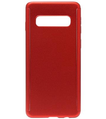 ADEL Kunststof Back Cover Hoesje met Screenprotector voor Samsung Galaxy S10 - Rood