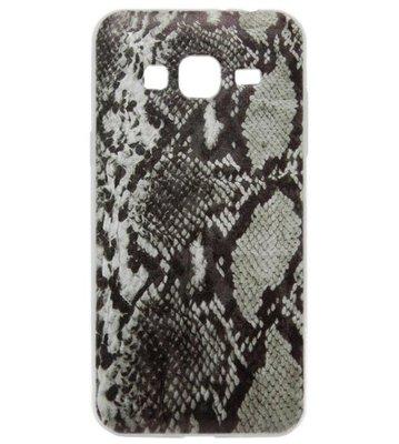 ADEL Siliconen Back Cover Softcase hoesje voor Samsung Galaxy J3 (2015)/ J3 (2016) - Slangenhuid Zwart