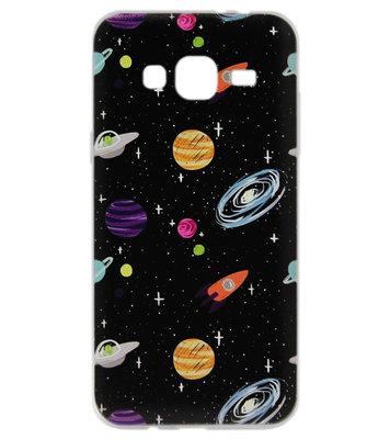 ADEL Siliconen Back Cover Softcase hoesje voor Samsung Galaxy J3 (2015)/ J3 (2016) - Universum Heelal