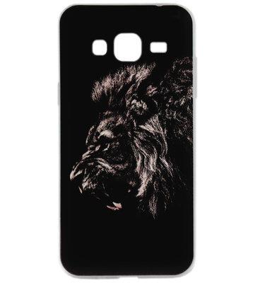 ADEL Siliconen Back Cover Softcase hoesje voor Samsung Galaxy J3 (2015)/ J3 (2016) - Leeuw Donker