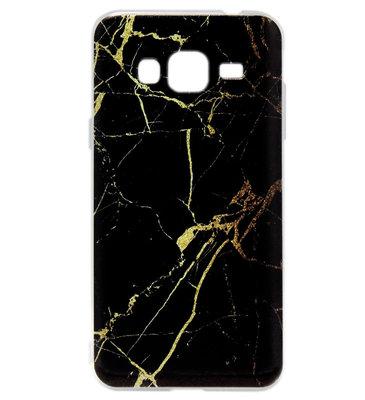 ADEL Siliconen Back Cover Softcase hoesje voor Samsung Galaxy J3 (2015)/ J3 (2016) - Marmer Zwart
