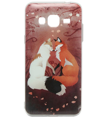ADEL Siliconen Back Cover Softcase Hoesje voor Samsung Galaxy J3 (2015)/ J3 (2016) - Vossen Familie