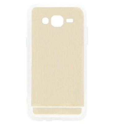 ADEL Siliconen Back Cover Softcase Hoesje voor Samsung Galaxy J7 (2015) - Spiegel Goud