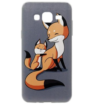 ADEL Siliconen Back Cover Softcase Hoesje voor Samsung Galaxy J7 (2015) - Vossen Familie