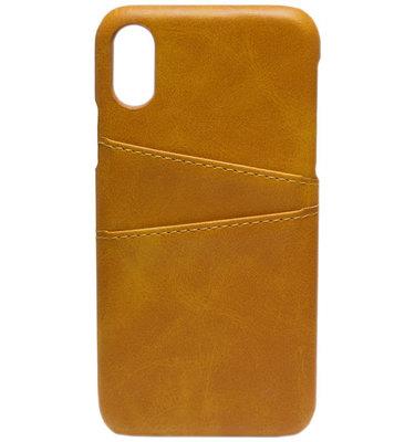 ADEL Kunstleren Back Cover Hoesje voor iPhone XS/X - Lichtbruine passenhouder