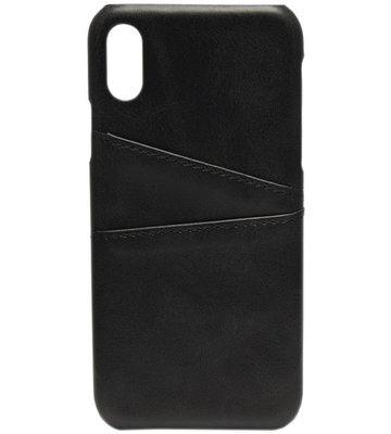 ADEL Kunstleren Back Cover Hoesje voor iPhone XS/X - Zwarte passenhouder
