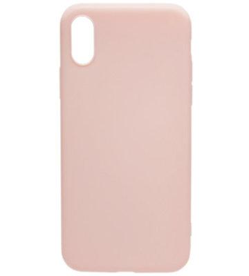 ADEL Siliconen Back Cover Hoesje voor iPhone XS/X - Lichtroze