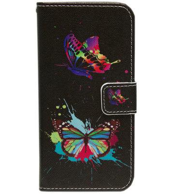 ADEL Kunstleren Book Case Hoesje voor iPhone XS/X - Vlinders met Kleur